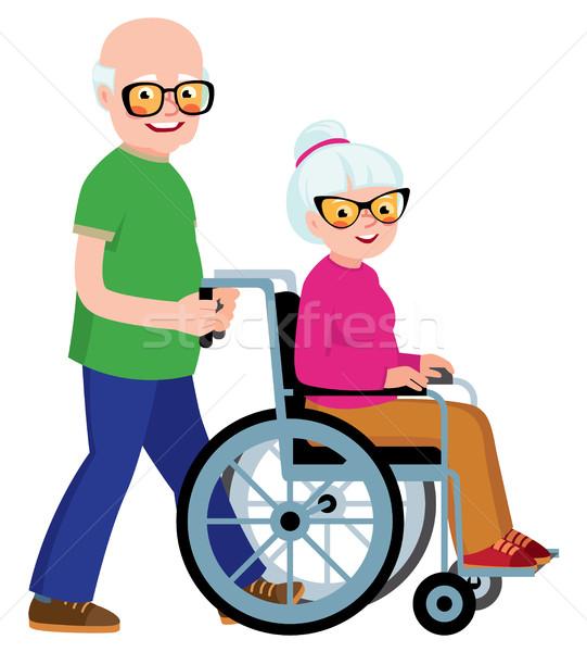 Echtpaar senior man vrouw rolstoel voorraad Stockfoto © UrchenkoJulia