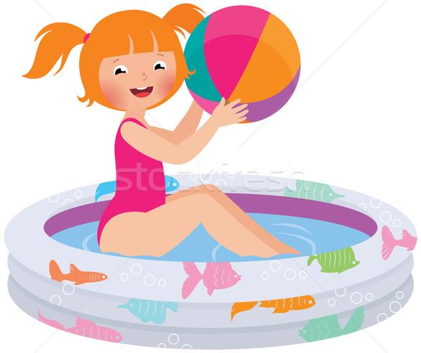 Kız top şişme havuz stok vektör Stok fotoğraf © UrchenkoJulia