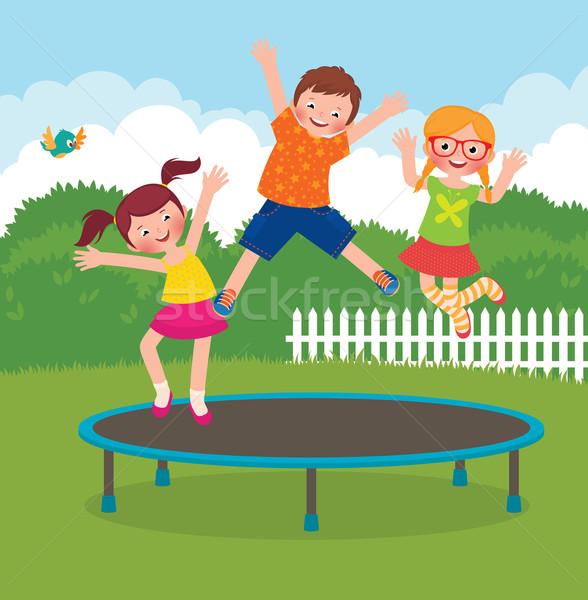 Dzieci skoki trampolina czas wektora cartoon Zdjęcia stock © UrchenkoJulia