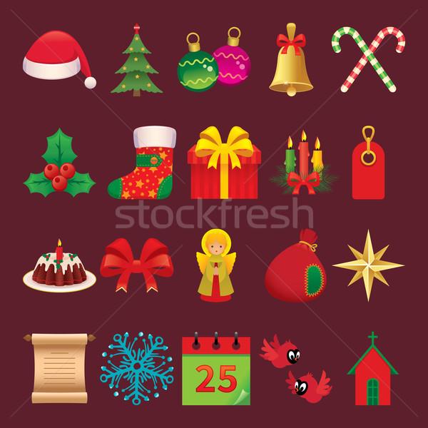 Ayarlamak simgeler semboller Noel vektör Stok fotoğraf © UrchenkoJulia