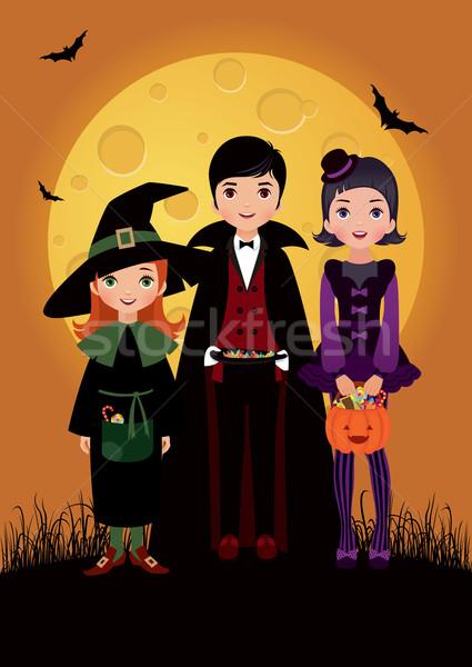 Dzieci kostium halloween księżyc zabawy teen Zdjęcia stock © UrchenkoJulia