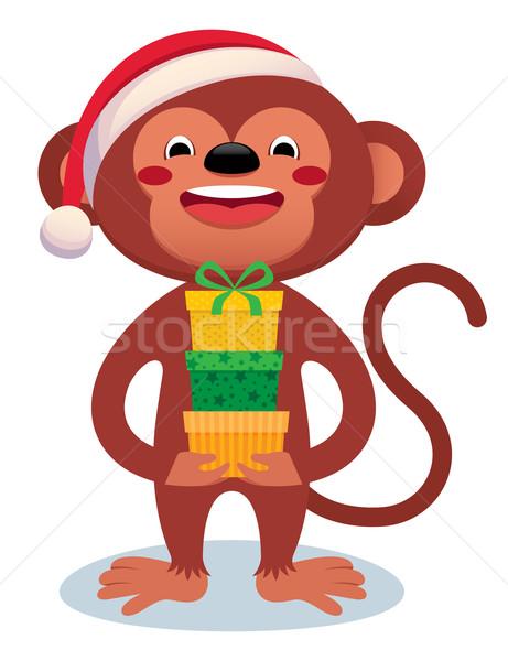 Maymun hediyeler yılbaşı karikatür yeni yıl Stok fotoğraf © UrchenkoJulia