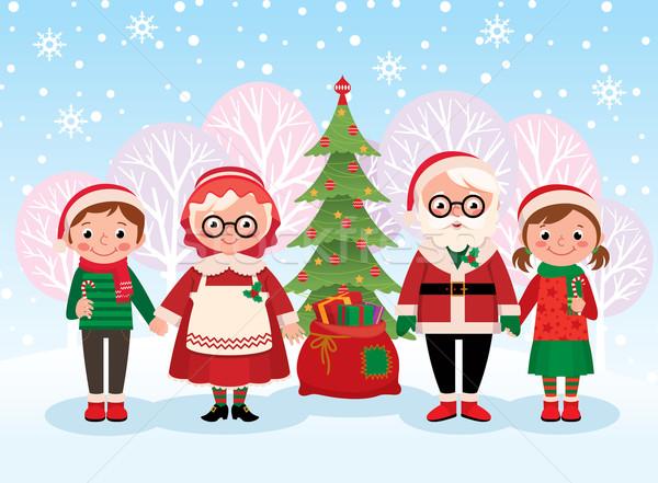 Święty mikołaj dzieci świętować christmas czas wektora Zdjęcia stock © UrchenkoJulia