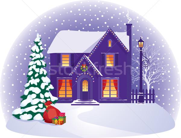 House in winter Christmas night Stock photo © UrchenkoJulia