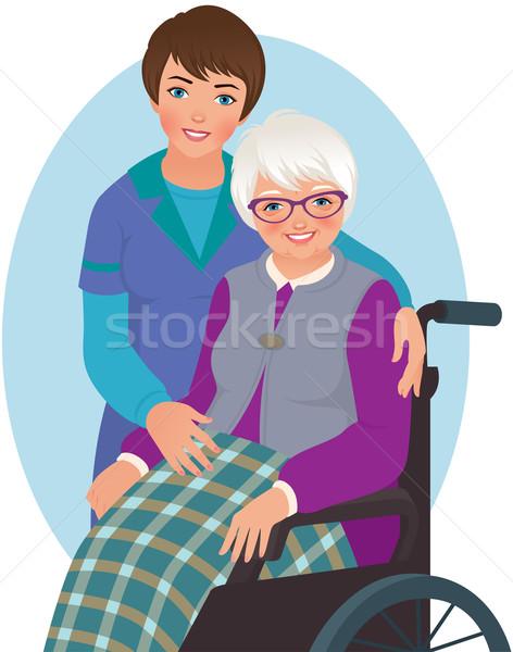 Elderly woman and nurse Stock photo © UrchenkoJulia