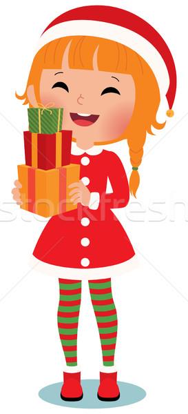 Kind kerstman witte christmas geschenken kinderen Stockfoto © UrchenkoJulia