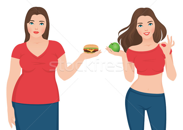 Fat and slim woman before and after weight loss Stock photo © UrchenkoJulia