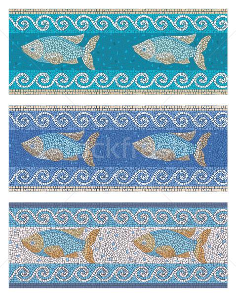 Bezszwowy mozaiki morskich stylu czas starożytnych Zdjęcia stock © UrchenkoJulia