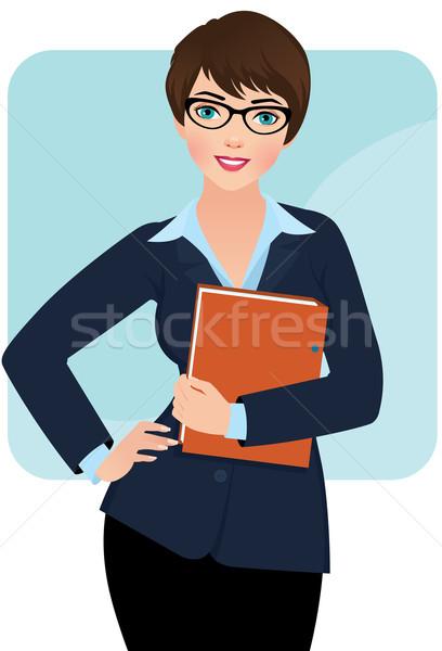 Işkadını iş kadını Klasör kağıtları iş gözlük Stok fotoğraf © UrchenkoJulia