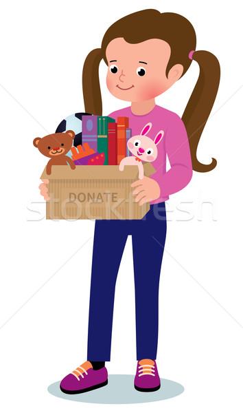 Küçük kız kutu örnek çocuk Stok fotoğraf © UrchenkoJulia