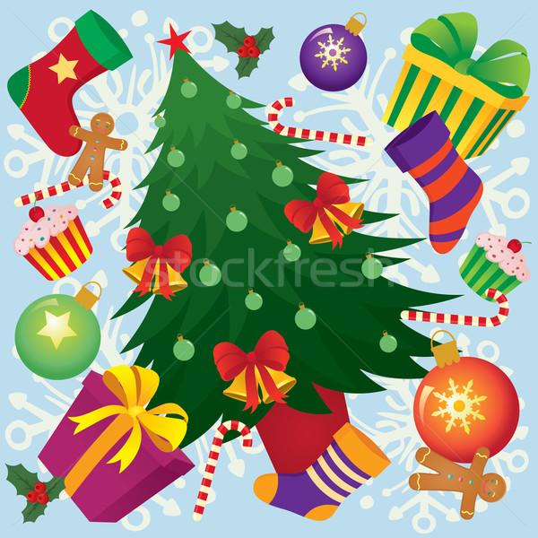 Christmas tle cartoon jasne dzwon Snowflake Zdjęcia stock © UrchenkoJulia