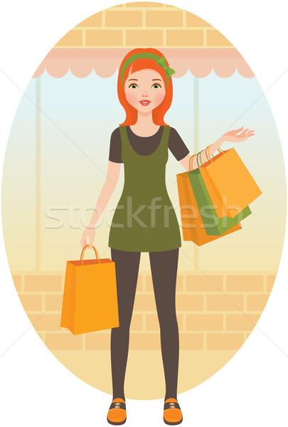 Kobieta zakupy pakiet Zdjęcia stock © UrchenkoJulia