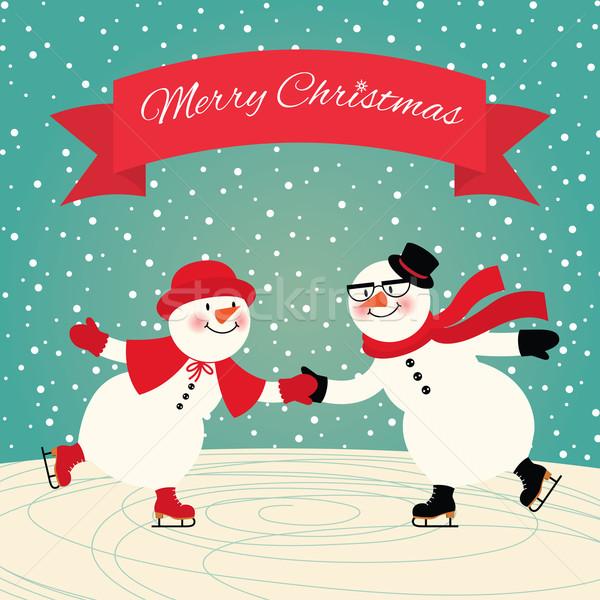 łyżwiarstwo ilustracja para miłości śniegu znajomych Zdjęcia stock © UrchenkoJulia