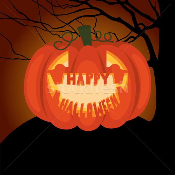 Plakat halloween noc czas ilustracja wakacje Zdjęcia stock © UrchenkoJulia