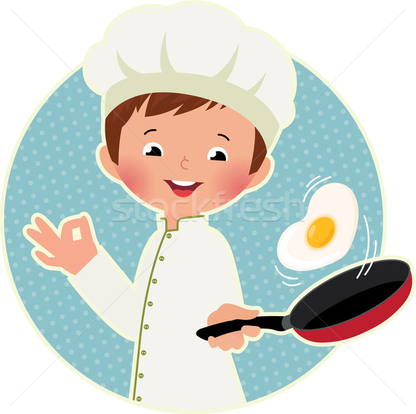 Cook virtuoso flipping an fried eggs or a omelette Stock photo © UrchenkoJulia