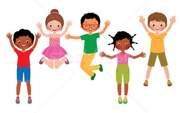 Grupy szczęśliwy skoki dzieci odizolowany biały Zdjęcia stock © UrchenkoJulia