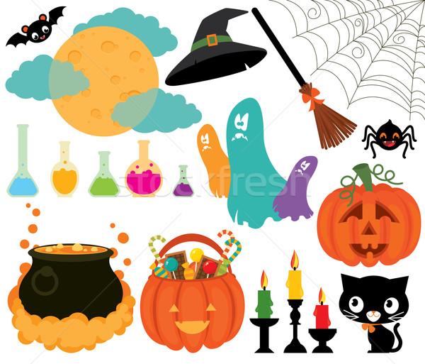 Zestaw magiczny symbolika halloween ilustracja biały Zdjęcia stock © UrchenkoJulia