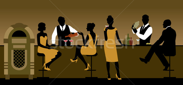 Silhouettes of a group of people drinking in a bar  Stock photo © UrchenkoJulia