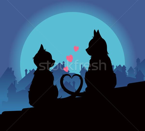 Amantes gatos ilustración techo ciudad corazón Foto stock © UrchenkoJulia