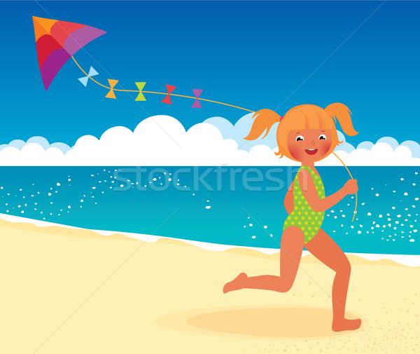 Foto stock: Menina · pipa · praia · corrida · estoque · vetor