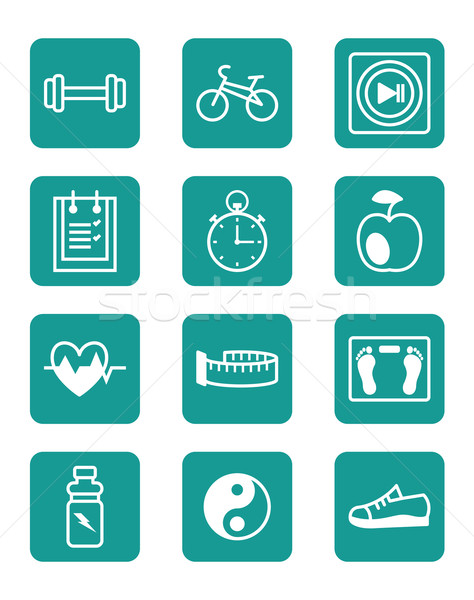 Stock photo: Icons set sports and fitness