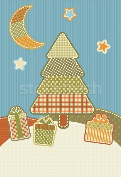 Noël patchwork illustration style couleur vacances Photo stock © UrchenkoJulia