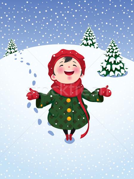 Zimą radości dziewczynka dziewczyna charakter dziecko Zdjęcia stock © UrchenkoJulia