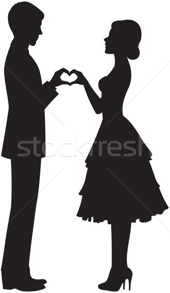 Sylwetka oblubienicy pan młody wektora trzymając się za ręce kobieta Zdjęcia stock © UrchenkoJulia