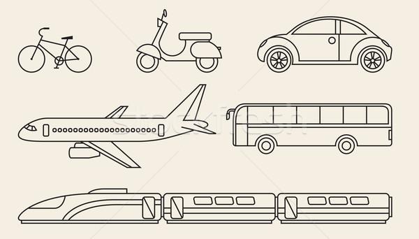 Foto stock: Linha · gráficos · conjunto · diferente · pessoal · transporte · público