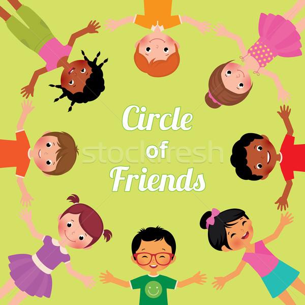Vriendschap kinderen wereld cirkel meisjes jongens Stockfoto © UrchenkoJulia