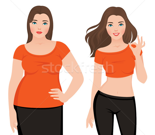 Before and after weight loss fat and slim woman on a white backg Stock photo © UrchenkoJulia