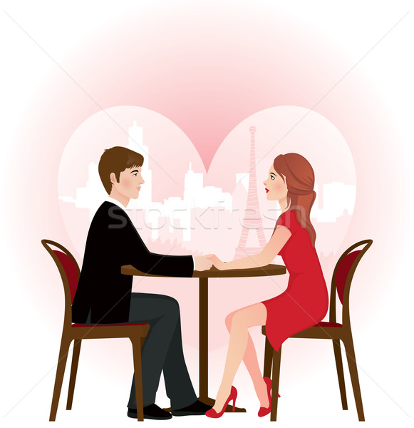 Loving couple on a date in the cafe Stock photo © UrchenkoJulia