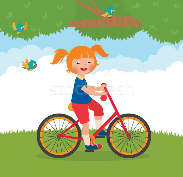 Radosny dziecko rowerów czas wektora cartoon Zdjęcia stock © UrchenkoJulia
