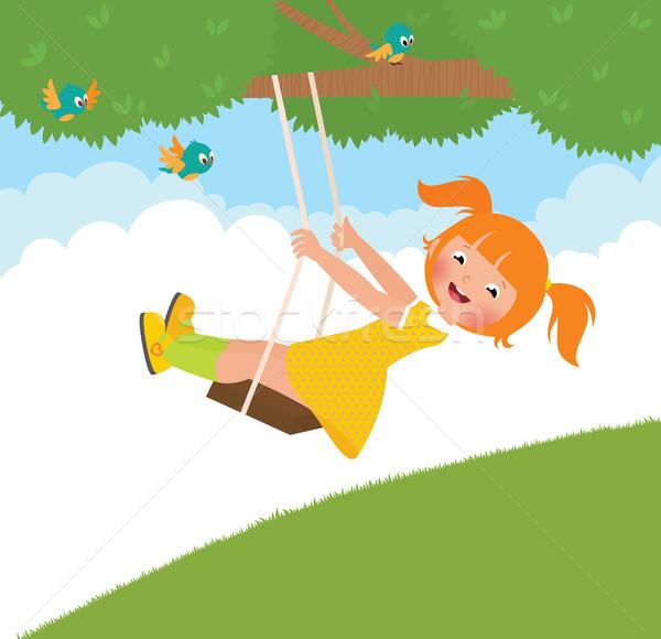 Dziewczyna huśtawka czas wektora cartoon ilustracja Zdjęcia stock © UrchenkoJulia