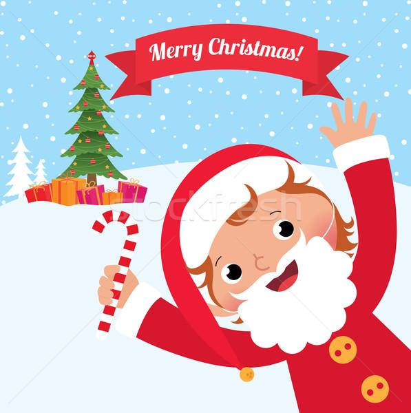 Dziecko kostium Święty mikołaj christmas dzieci Zdjęcia stock © UrchenkoJulia