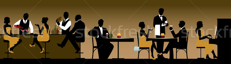 Silhouettes of a group of people holiday makers in a restaurant  Stock photo © UrchenkoJulia