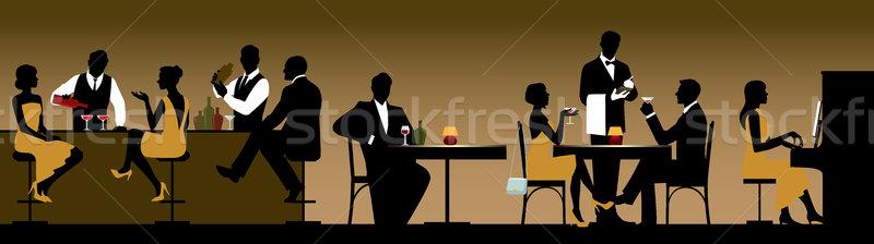 Siluetleri grup insanlar tatil restoran bar stok Stok fotoğraf © UrchenkoJulia