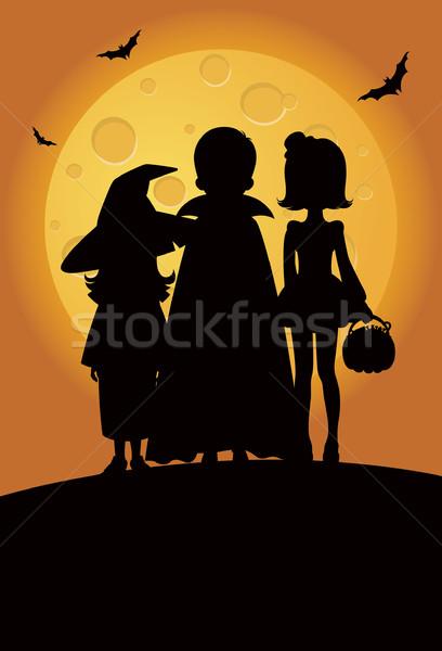 Hile siluetleri çocuklar halloween Stok fotoğraf © UrchenkoJulia