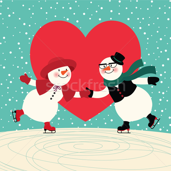 Lovers lodu dwa skating Zdjęcia stock © UrchenkoJulia