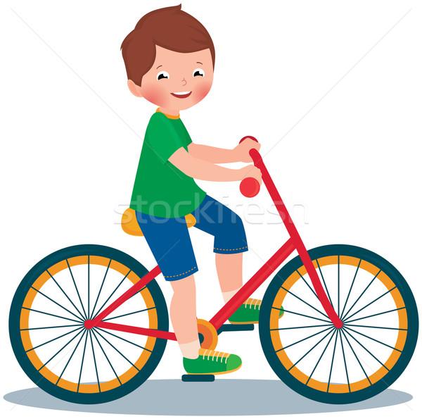 Chłopca rower czas wektora cartoon ilustracja Zdjęcia stock © UrchenkoJulia