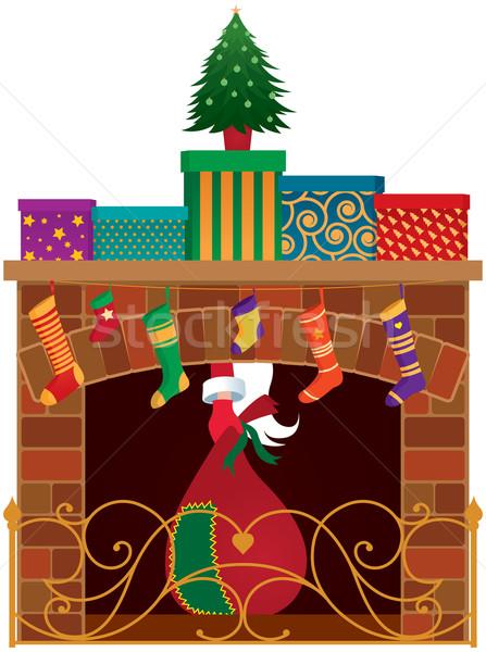 Christmas fireplace Stock photo © UrchenkoJulia