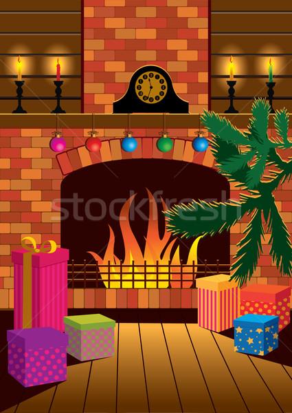 Stock fotó: Karácsony · kandalló · szoba · éjszaka · tűz · belső