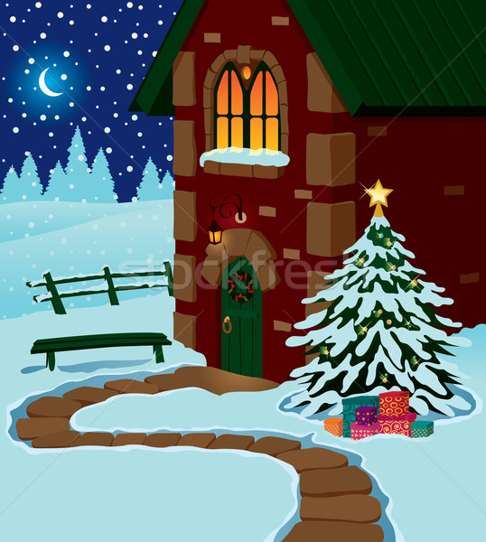 Christmas domu kraju noc niebo krajobraz Zdjęcia stock © UrchenkoJulia
