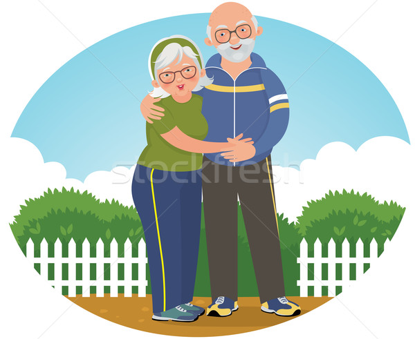 Old couple in track suits Stock photo © UrchenkoJulia