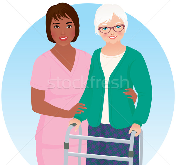 African American nurse and her patient Stock photo © UrchenkoJulia
