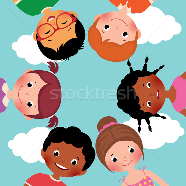 Heureux enfants cercle stock vecteur cartoon Photo stock © UrchenkoJulia