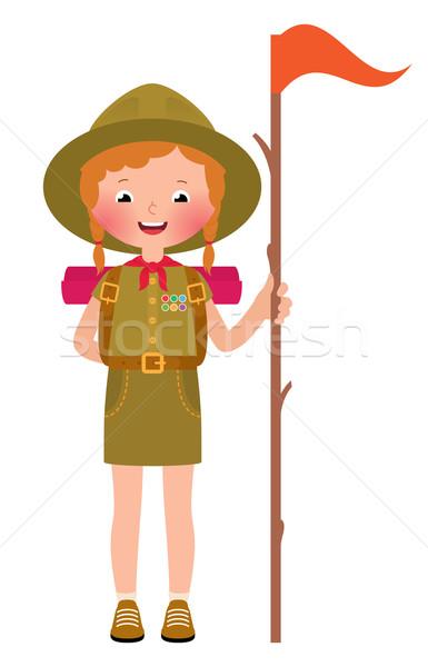 Gülen çocuk kız izci tam uzunlukta yalıtılmış Stok fotoğraf © UrchenkoJulia