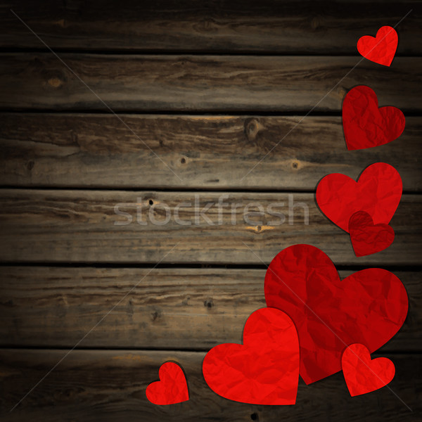 Hearts on the background of wood Stock photo © user_10003441