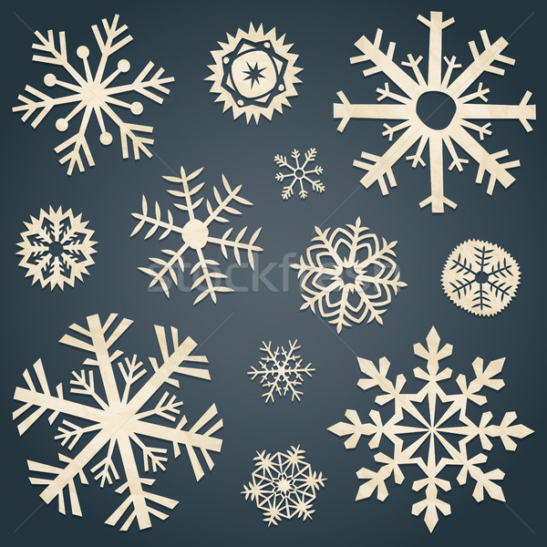 Set of snowflakes from old paper Stock photo © user_10003441