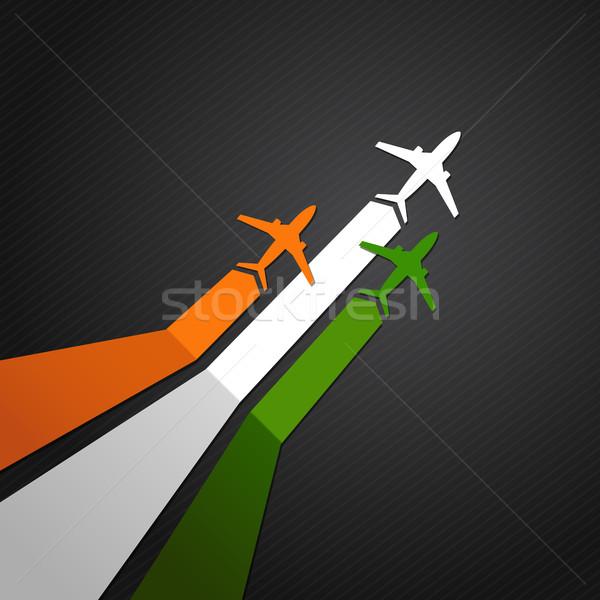 Hindistan düzlem vektör bayrak gökyüzü arka plan Stok fotoğraf © user_10003441